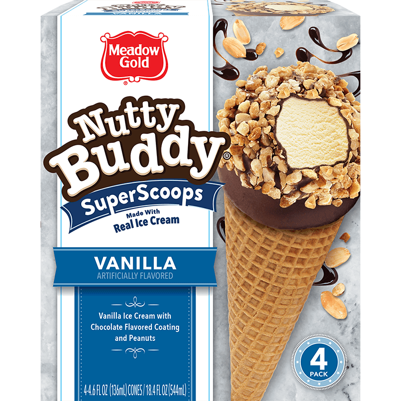 Nutty Buddy Vanilla Super Scoops 4 Pk